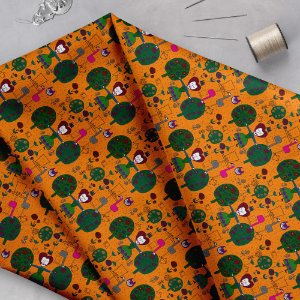 Tecido  - Rainha de copas fundo laranja