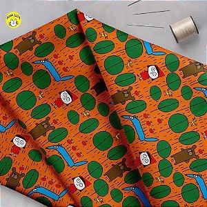 Tecido  - Chapeuzinho fundo laranja