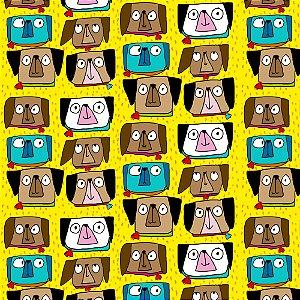 Tecido  -  Cachorrinhos olhudos fundo amarelo