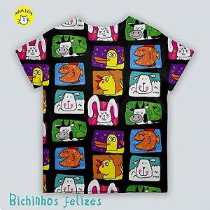Blusinha infantil Bichinhos Felizes