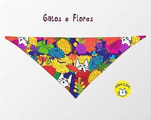 Bandana Gatos e Flores