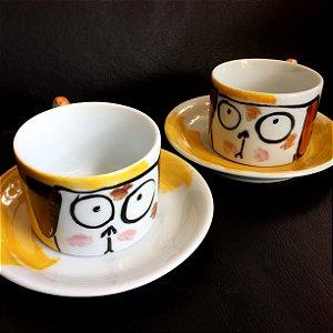 Conjuntinho   2 xicaras de chá  Cachorrinhos