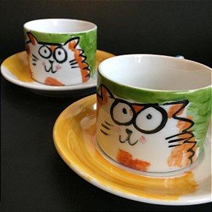 Conjuntinho   2 xicaras de chá  Gatinho Gordinho
