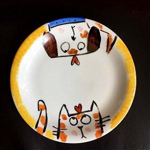 Pratinho de sobremesa Gato e cachorro2