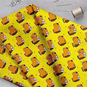 Tecido  -  Cachorro fd amarelo