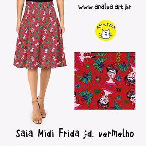 Saia Midi Frida fundo vermelho