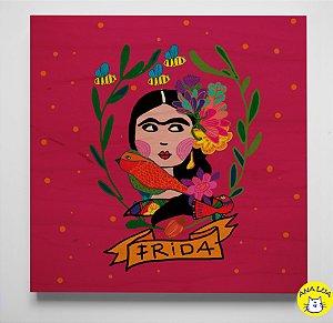Plaquinha  Frida rosa