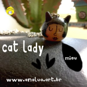 Colar Cat lady - preto