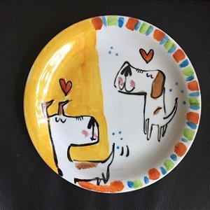 Pratinho de sobremesa Dois Cachorrinhos alegres