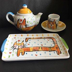 Conjuntinho xícara de café  : bule,  bandeja e xícara de café  -Gato Espichado