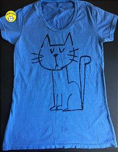 Blusa Sua Alteza, o Gato - azul