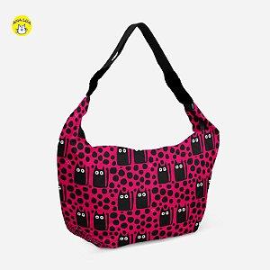 Bolsa Meia Lua Gatos Olhudos fundo rosa