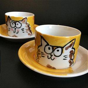 Conjuntinho   2 xicaras de chá  Gatinho Gordinho 2