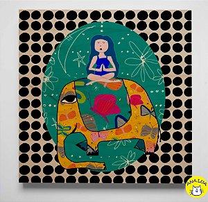 Plaquinha Meditando com elefante