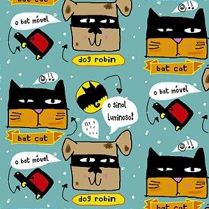 Tecido  -  Bat Cat e Dog Robin fd azul