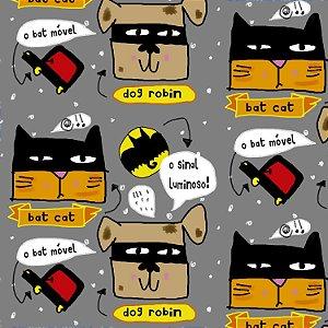 Tecido  -  Bat Cat e Dog Robin fd cinza