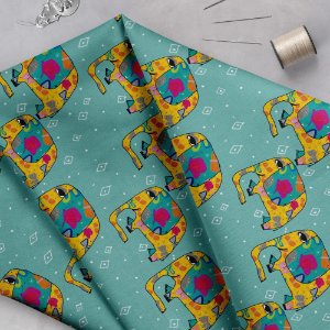 Tecido  -  Elefantes fd azul