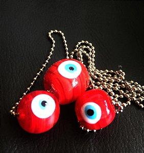 Colar 3 olhinhos - vermelho