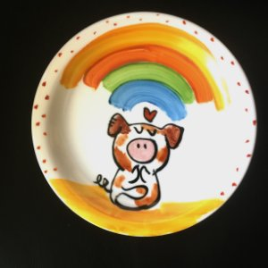 Pratinho de sobremesa  Porquinho Zen