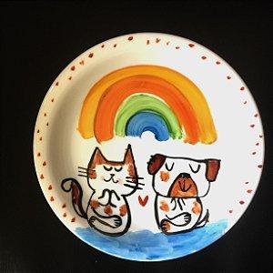 Pratinho de sobremesa  Cachorrinho e Gatinho Zen