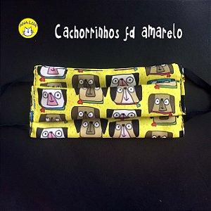 Máscara Cachorrinhos carentes fundo amarelo