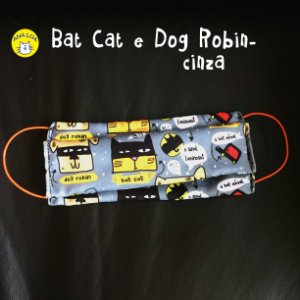 Máscara Bat Cat e dog robin - cinza