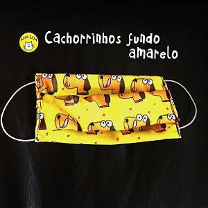 Máscara Cachorrinhos fundo amarelo