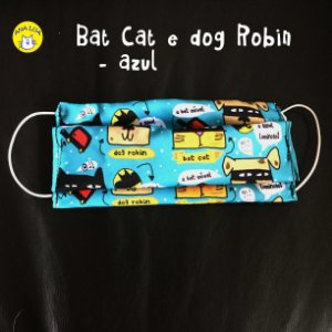 Máscara Bat Cat e Dog Robin- fd azul