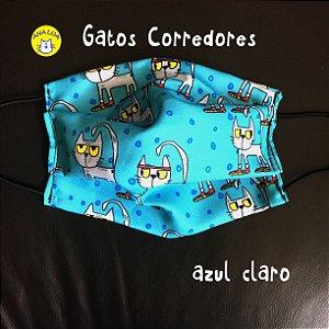 Máscara Gatos Corredores fundo  azul