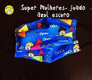 Máscara Super Mulheres fundo azul escuro