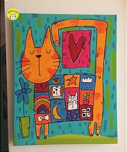 Pintura - Tela Gato com casaco