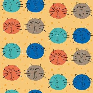 Tecido  -  Gatos Bolas - pastel