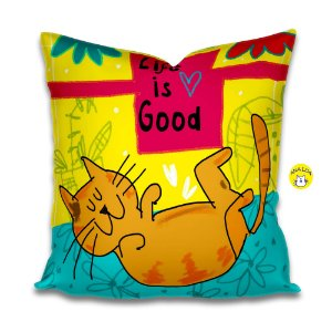 Capa de Almofada Life is Good - gato