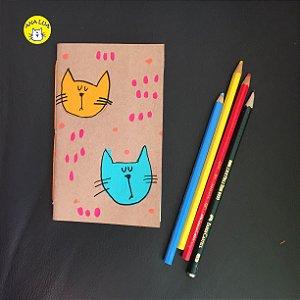 Caderninho  2 gatinhos - amarelo e azul