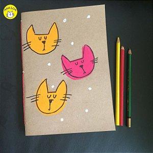Caderno 2 Gatinhos - amarelo e rosa