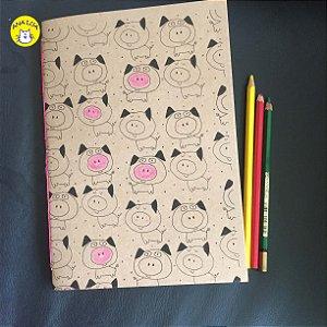 Caderno  Porquinhos - folhas coloridas