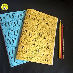 Caderno Kit GAtos e Cachorrinhos ( amarelo e azul)