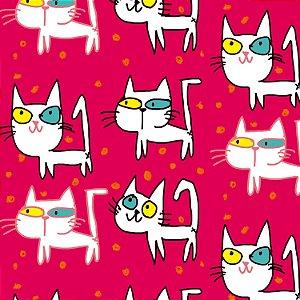 Tecido  -  Gatos olhos coloridos - rosa