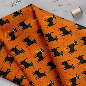 Tecido  -  Pretinho básico fundo laranja