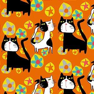 Tecido  -  Gatos malhados Pop fundo laranja