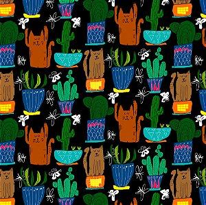 Tecido  -  Gatos e Cactus