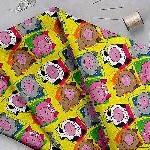 Tecido  - Porquinhos fd amarelo