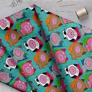 Tecido  - Porquinhos fd azul