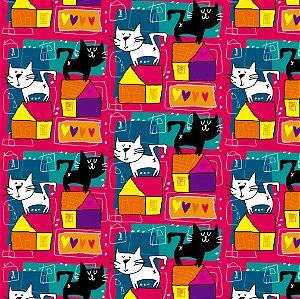 Tecido  -  GAtos e casas fundo rosa