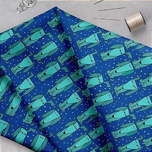 Tecido  - CAchorrinhos desconfiados fundo azul