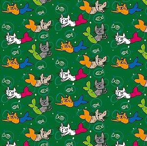 Tecido - Gatinhos Sereia