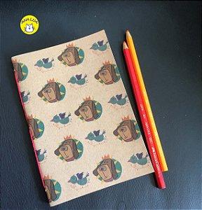 Caderninho CAchorro Rei folhas coloridas