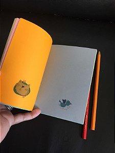 Caderninho GAtinho Abóbora folhas coloridas