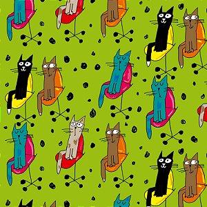 Tecido  -Gato na cadeira de rodinhas fd verde