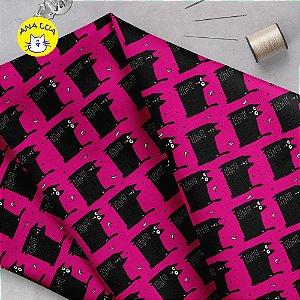 Tecido  -  GAtos Pretos gordinhos fd rosa